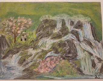 Pastel Original Depiction of a Japanese Garden Waterfall