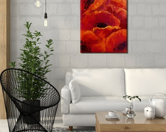 Abstract Wall Art, Flower Wall Decor Canvas Print, Floral Wall Art Print On Canvas, Abstract Canvas Art, Floral Artwork, Vertical Art