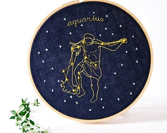 Aquarius (January 20 - February 18) zodiac embroidery
