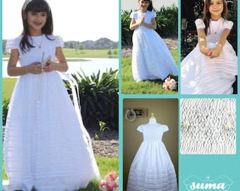 First Communion  Dresses  Long Cotton Fabric, Smocked First Communion Dress with petticoat included, add  Head Piece and Veil