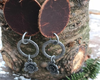 Metal and Leather Earrings-Weathered--Boho Earrings-Flower Child