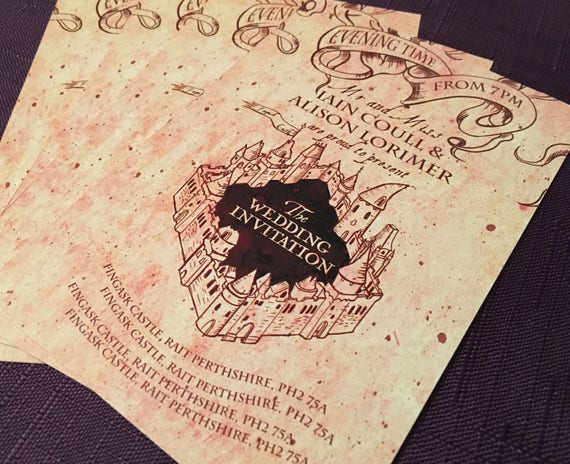 Marauders Map Style Wedding and Event Invitation Single Sided