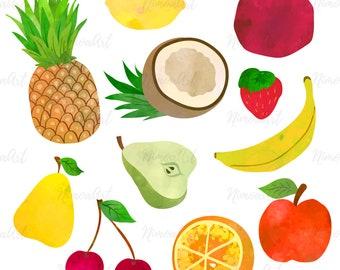 Tasty fruits. Clip art illustrations set.