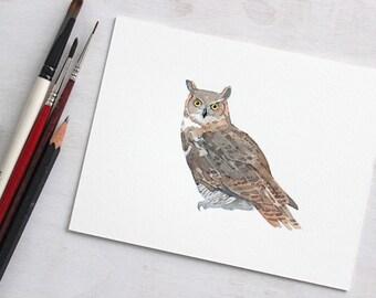Great Horned Owl Original Watercolor Painting, owl art