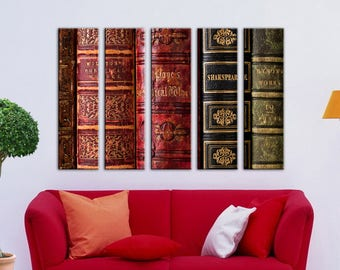Old books Wall decor Large Canvas Art Set Multi Panel canvas Old books Wall Art Canvas Print Canvas wall art Home decor Home interior