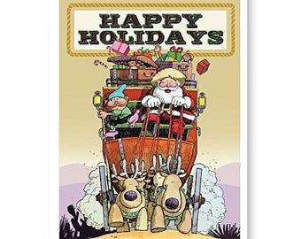 Santa Stagecoach Western Christmas Cards - 18 Cards & Envelopes - KX323