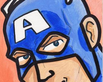 "Captain America Avengers painting acrylic 9"" x 6"""
