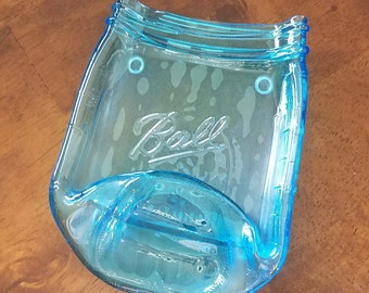 Slumped Melted Recycled Blue Glass Ball Canning Jar