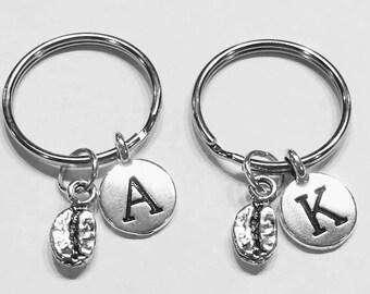 Coffee Bean Keychain, Initial Keychain, Best Friend Gift, Best Friend Keychain, Mother Daughter Gift, Coffee Lover Gift Initial Keychain Set