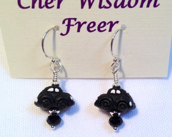 Black Volkswagen Beetle Earrings