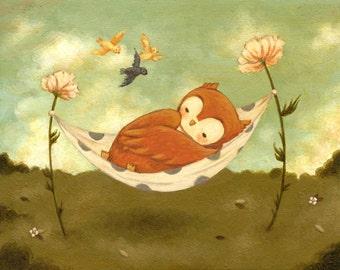 Children's Art - Naptime Owl Print 7x5 / 8x6 - Nursery Art, Owl, Owl Art, Owl Decor, Dream, Nap, Bedtime, Baby, Cute, Bird, Sleep, Flowers
