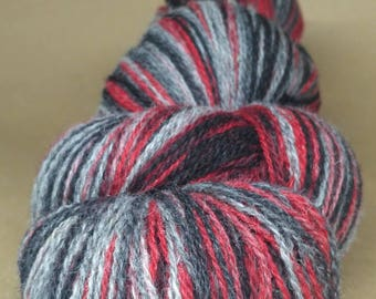 KAUNI 2ply Wool Yarn, Self-Striping, Sport Weight, Black, Grey, Red Wine