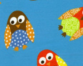Owl Fabric/ Owls on Turquoise/ 50% OFF
