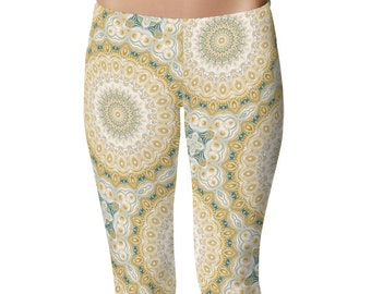 Mustard Yellow and Teal Mandala Pattern Clothing, Cool Leggings, Boho Leggings, Kaleidoscope Pattern Printed Tights