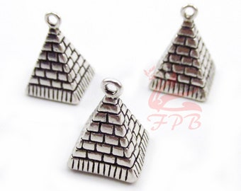 2 Egyptian Pyramids Of Giza Charms 20mm Antiqued Silver Plated Pendants SC0019507