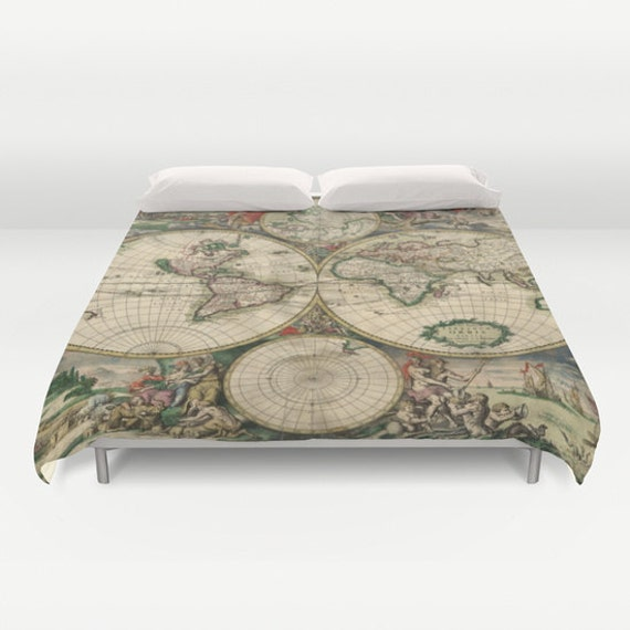 Old world map duvet cover vintage world map bedding map zoom gumiabroncs Choice Image