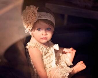 CHAMPAGNE Vintage Shabby Chic Frayed Chiffon & Lace Headband, Baby Headband, Infant Headband, Toddler Headband, Girl's Headband, Photo Prop