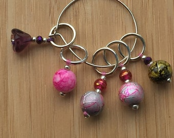Stitch Markers -  Hand crafted -  set of 5