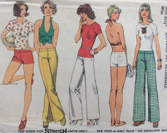 Simplicity 6354 misses hip-hugger pants or shorts, top & halter top size 10 bust 32 1/2 waist 25 vintage 1970's sewing pattern