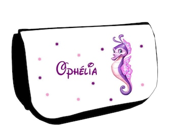 Black seahorse /crayons make-up case personalized with name