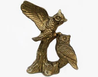 """Vintage Brass Owls Branch Sculpture, Heavy 7"""" Tall Real Brass Statue of Two Owls Perched in Tree, Nice Detailing, Excellent c1970 Condition"""