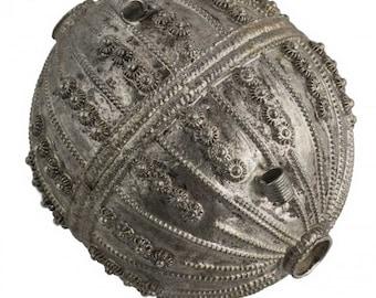 Antique silver Yemeni wedding bead. 50mm x 43 mm. b18-580cs(e)