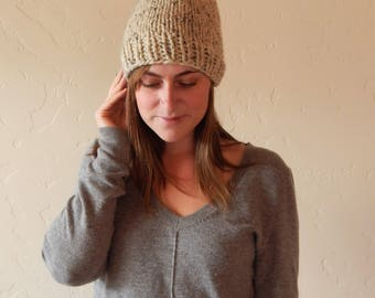 Chunky Slouchy Knit Hat Beanie with Pom Pom Δ The Imojean Δ Color Options