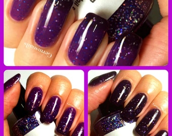 "Color Changing Nail Polish - Purple to Black - ""Thunderstorm"" - Thermal - FREE U.S. SHIPPING - Holographic - Full Size Bottle"