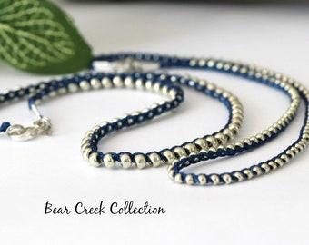 Silver on Blue Choker / Necklace, Knotted, Silver Glass, Dainty Necklace, Bohemian Jewelry, Minimalist, Crochet Bead Necklace, Wrap Bracelet