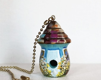 Light / Fan Pull , Turquoise and White Birdhouse  with Lots of Flowers