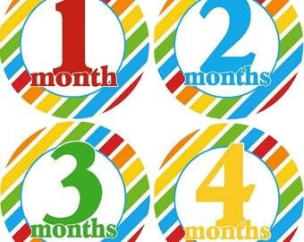 Monthly Bodysuit Baby Growth Stickers - Primary Boy - Milestones, Photo - Fun, bold colors