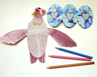 DIY New Mom Bird Fold Out Wing Card With Pretty Blue Egg Printable PDF, Cute Animals, Expecting Baby, Pregnant