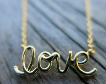 Gold LOVE Necklace, Dainty Necklace, Simple Necklace, Everyday Necklace, Bridesmaids Necklace