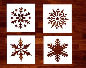 Snowflakes - Set of 4 Custom Stencil