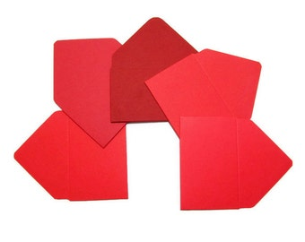 Gift Card Envelopes 5 Shades of Red, Hand Made Gift Card Holder, Mini Envelopes, Small Envelopes, Business Card Holder