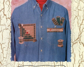 Heaven N Homespun 010 I Love Quilting Quilt Applique for Shirt Thread Fabric Diana Preston 1999  Free Us Ship Craft Sewing Pattern Uncut