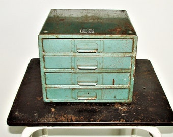 Metal Stroage Drawer Chest True Craft Tool Boxes Old Collectible Shop Storage