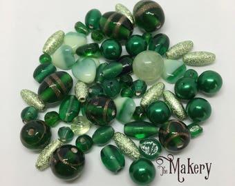 Green bead mix, 50 beads, glass, metal, plastic