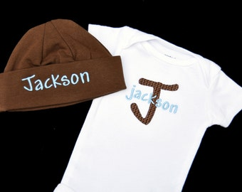 Personalized Baby Bodysuit and Beanie Cap Set / Name and Initial / Sizes Newborn - 24 months