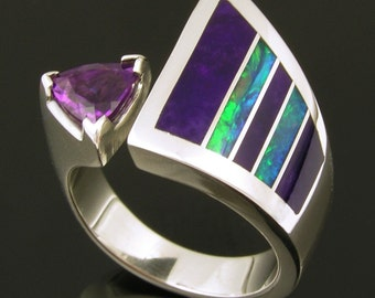 Australian Opal Ring with Sugilite and Amethyst Accents, Opal Engagement Ring, Sugilite and Opal Ring