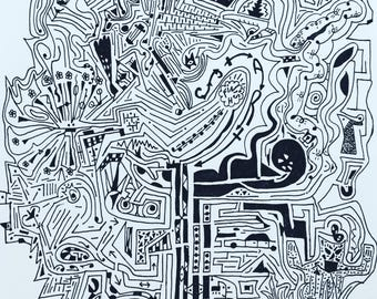 Abstract Art Mazes to Solve and Color One of a kind, unique gift idea for all ages #illustration #mazes #brainteaser #puzzle #coloringbook