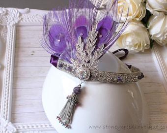 Gatsby Headpiece Flapper Headpiece Amethyst Great Gatsby Dress Feather Headband Wedding Headpiece Art Deco Hair Piece Bachelorette Hen Party