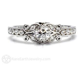 Diamond Engagement Ring Vintage Style Ring Filigree Ring Milgrain Conflict Free Diamond Ring 14K or 18K Gold