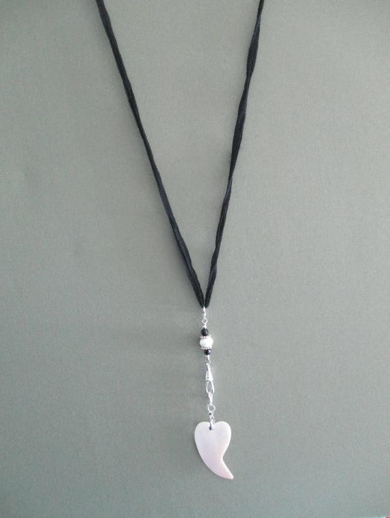 Black Onyx and Shell Heart Convertible I.D. Lanyard on Black Silk L16181