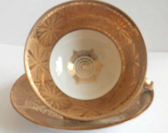 Vintage Gold Bavaria Tea Cup and Saucer- Made In Germany