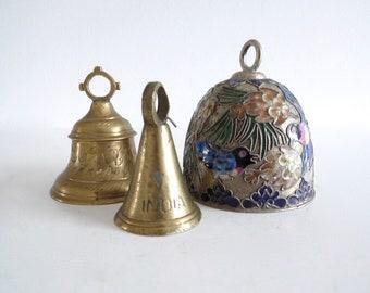 Three Brass Bells, Chinese, Cloisonné, Vintage Rustic Brass Bell, Brass Bell, Brass Bells, Made in India, Birds