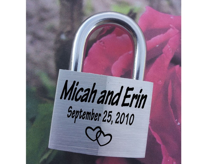 "NokNoks ENGRAVED PADLOCK ""Love Lock"" Personalized, Wedding, Anniversary, Proposal, Gift"