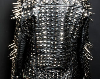 Made to order Men's Full Heavy Metal Jacket / spiked studded faux leather custom biker