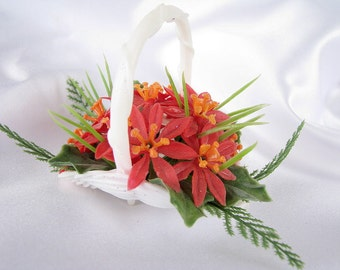 Vintage Plastic Christmas Holiday Basket Ornament with Poinsettias