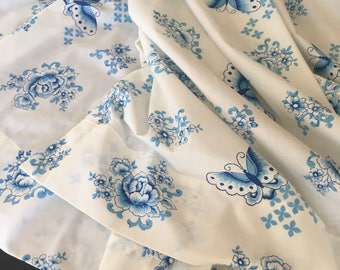 Vintage Blue and White Curtains w/ Roses & Butterflies